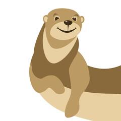 cartoon otter vector illustration flat style front