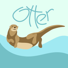 cartoon otter vector illustration flat style front