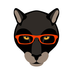 panther in the glasses vector illustration flat style front