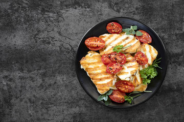 Halloumi Cheese with Roasted Cherry Tomatoes and Herbs