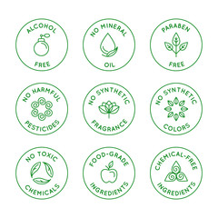 Vector set of linear circle design elements, logo templates, icons and badges for natural organic cosmetics with safe eco ingredients