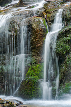close up of waterfall cascade over the mossy rock. beautiful calm nature background. freshness and power of water. clear environment and resources concept