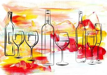 Wine art illustration design iconic