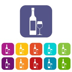 Bottle of wine icons set vector illustration in flat style in colors red, blue, green, and other