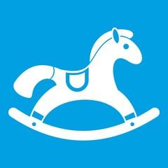 Rocking horse icon white isolated on blue background vector illustration