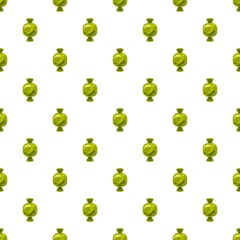 Sweet candy in green wrap pattern seamless repeat in cartoon style vector illustration
