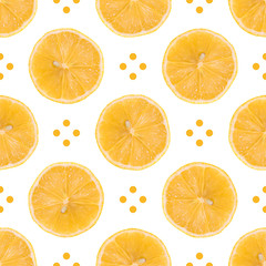 Seamless pattern made of Lemon slice isolated and dots on a white background. Flat lay top view from above, juicy fruit.