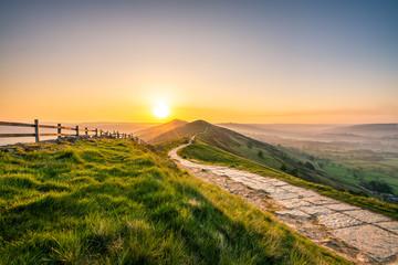 Sunrise at Mam Tor hill in Peak District Wall mural