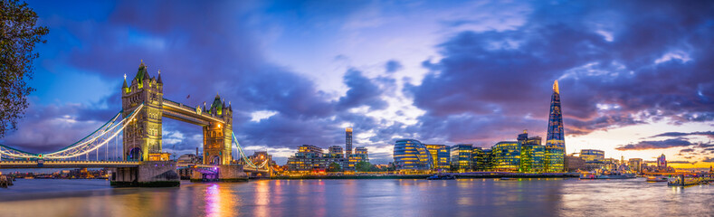 Tower Bridge panorama at blue hour