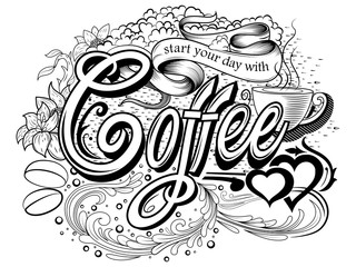 Creative typography text lettering for Coffee