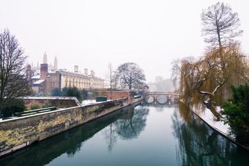 Cam river water canal near Clare College. Cambridge in winter