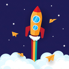 The rocket fly in space with rainbow , paper plane , cloud , and colorful
