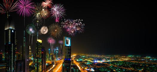Fireworks display at Dubai Finance Centre, UAE