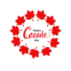 Happy Canada Day greeting card with maple leaves