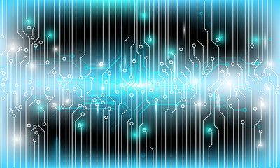 Circuit Board Hi Scifi Future Technology Pattern Vector Background. Light Green Abstract Line Connection Trace Illustration.