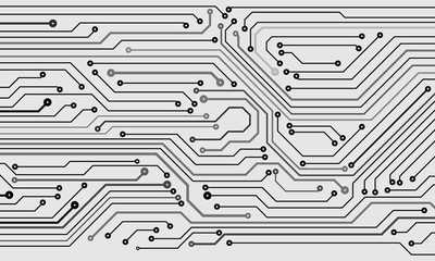 Circuit Board Hi Technology Grayscale Color Tone Pattern Vector Background