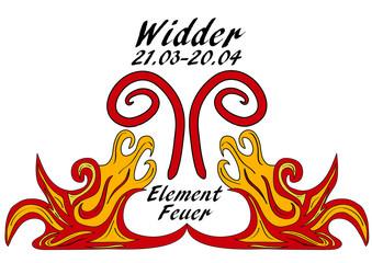 Sternzeichen Widder, mit deutschem Text: Widder, Datum, Element Feuer. Vektorgrafik eps10