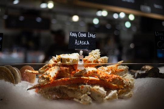 Alaskan king crab legs sold at Chelsea Market, New York City
