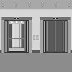 elevator cabin with open and closed doors