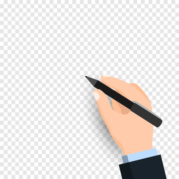 Hand holding pen and writingisolated on transparent background. Businessman hand with pen writing on Transparency only in vector file - Vector illustration