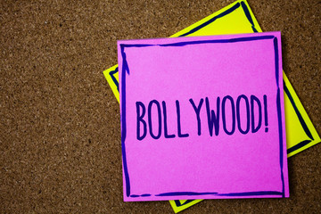 Conceptual hand writing showing Bollywood Motivational Call. Business photo text Hollywood Movie Film Entertainment Cinema Wicker background message communicate intentions feelings thoughts.