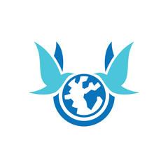 Twin Dove Globe Peace Agent Symbol