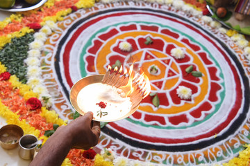 Fototapete -      Indian Traditional Pooja with Chakra decoration