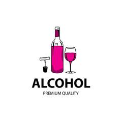 Wine logo design template. Vector illustration of icon