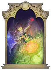 Funny Halloween cartoon anime illustration of a beautiful spooky girl cooking some magic potion in a pot