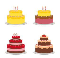 Birthday Cake Flat Icon Cllection Set for Your Design, Vector Illustration