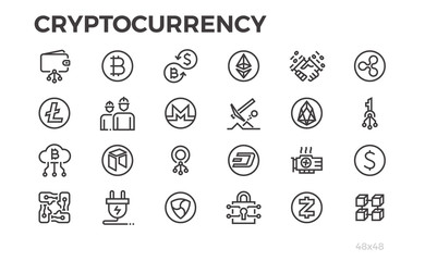 Cryptocorrency icons. Cryptography, crypto currency, money and other symbols. Editable line.