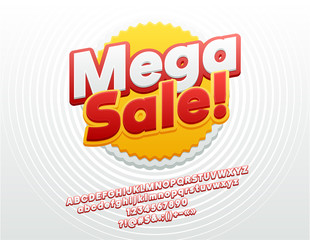 Vector Bright Mega Sale Logo. Sticker Font. Trendy Alphabet Letters, Numbers and Symbols