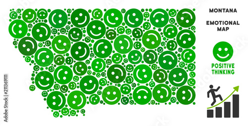 Happy Montana State Map Collage Of Smile Emojis In Green Tints