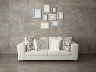 Mock up a modern living room with a comfortable compact sofa and a trendy hipster background.