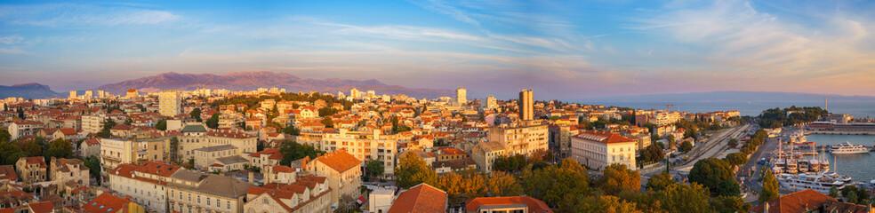 Panorama of Split at dusk, Dalmatia, Croatia