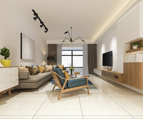 3d rendering minimal and modern living room with cozy sofa