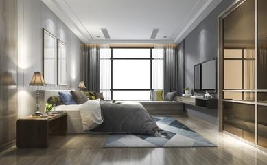 3d rendering luxury modern bedroom suite in hotel with wardrobe