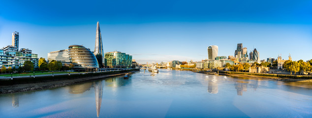 London skyline panorama with reflections viewed from the Tower Bridge Wall mural