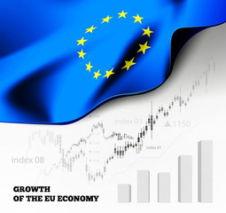 EU economics illustration with the european union flag and business chart, bar chart stock numbers bull market, uptrend line graph symbolizes the growth