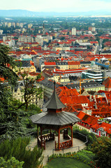 Gazebo in Schlossberg hill park with Graz view. Austria. Europe/