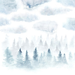 Foggy forest under the cloudy sky painted with watercolor. Winter landscape. Square card isolated on white background.