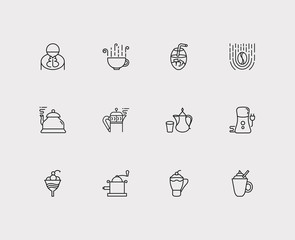 Tea icons set. Coffee grinder and tea icons with coffee, arabic coffee pot and coffee cup. Set of elements including fresh for web app logo UI design.