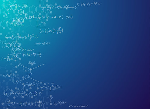 Science abstract background with formulas. Real string theory and relativity physics formulas on gradient background with chemical skeletal formula of molecules. Scientific banner for text placement.
