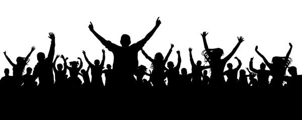 Crowd cheer people silhouette. Applauding audience
