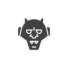 Japanese hannya vector icon. filled flat sign for mobile concept and web design. Traditional japanese demon Oni mask simple solid icon. Symbol, logo illustration. Pixel perfect vector graphics