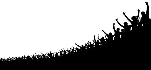 Crowd of sports fans. Sports cheerful audience. Crowd of people in the stadium, arena. Silhouette vector