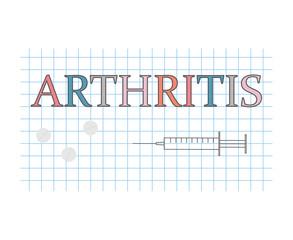 Arthritis word on checkered paper sheet- vector illustration