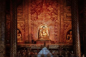 Phra Singh statue of Viharn Lai Kam Wat Phra Singh, Ancient landmark of Chiang Mai, Thailand