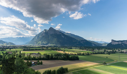 Wall Mural - Sargans and Gonzen mountain in the Rhine Valley of Switzerland on a beautiful summer evening