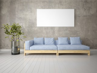 Mock up a bright living room with a gray comfortable sofa and a stylish hipster background.